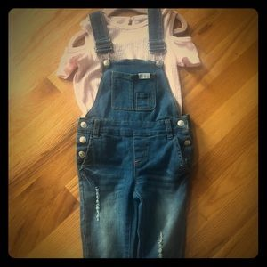 7 for all Mankind Denim Overalls and pink top